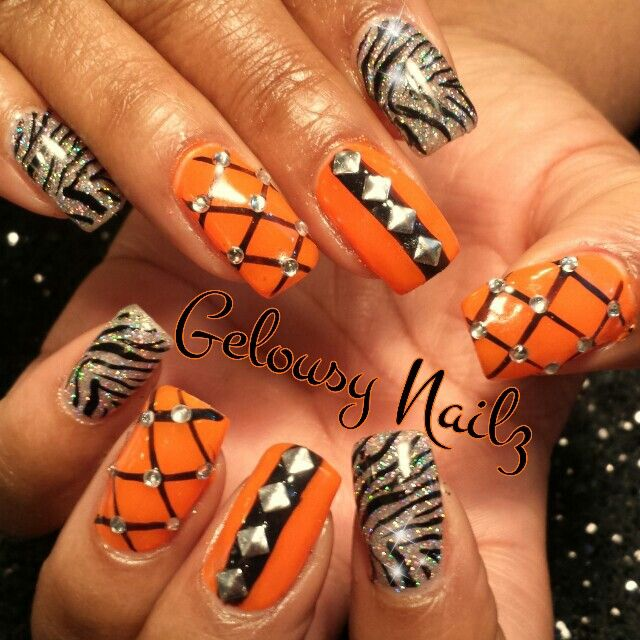 Orange black silver glitter bling nail design | Orange toe ...