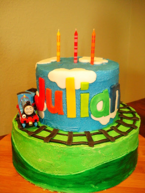 """The Cake Stand: Julian's Thomas the Train Birthday Cake...can't the theme just be """"plain chocolate frosting?"""" I could handle that kind of cake. This kid..."""