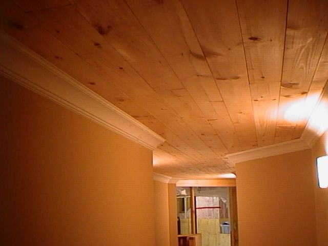 trim and moulding | Trim Work Pine Plank Ceiling With Crown Moulding