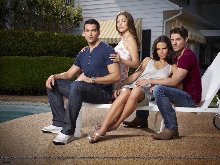 Jesse Metcalfe as Christopher Ewing, Julie Gonzalo as Rebecca Barnes, Jordana Brewster as Elena Ramos, and Josh Henderson as John Ross Ewing