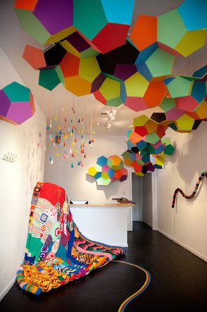 colorful hexagon balls climbing the wall