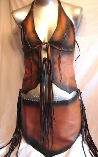 Leather Halter Top and Loincloth Set COMICON van dleather op Etsy