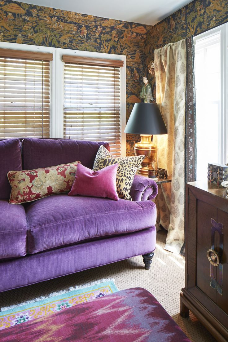 Shabby chic purple sofa   Inspired Living Omaha