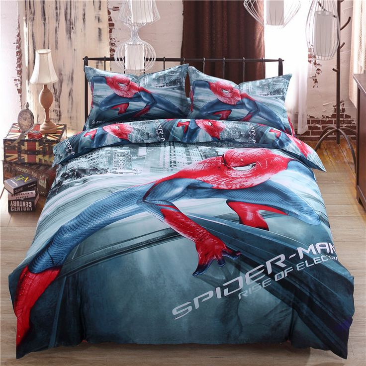 2016 new 3D 100% cotton oil painting 3pcs/4pcs sheet set super hero spiderman bedding sets  Twin/queen/king size