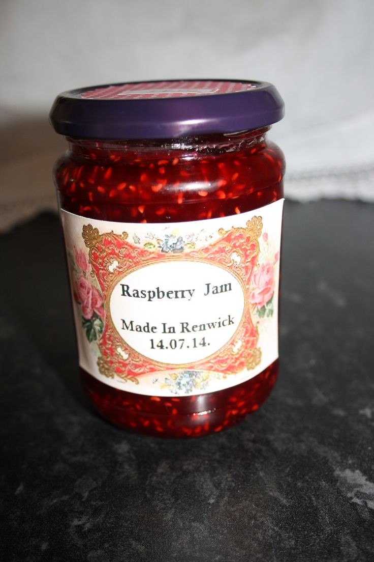My Homemade Raspberry Jam with Victorian themed label.