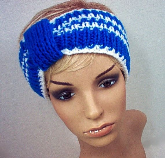 Ear Warmer Headband Team Colors for Fans and Cheerleaders! Blue and White University of Kentucky, Duke University, University of Buffalo, Middle Tennessee University, Penn State, Utah State, Yale University, Columbia University, Indianapolis Colts, Dallas Cowboys
