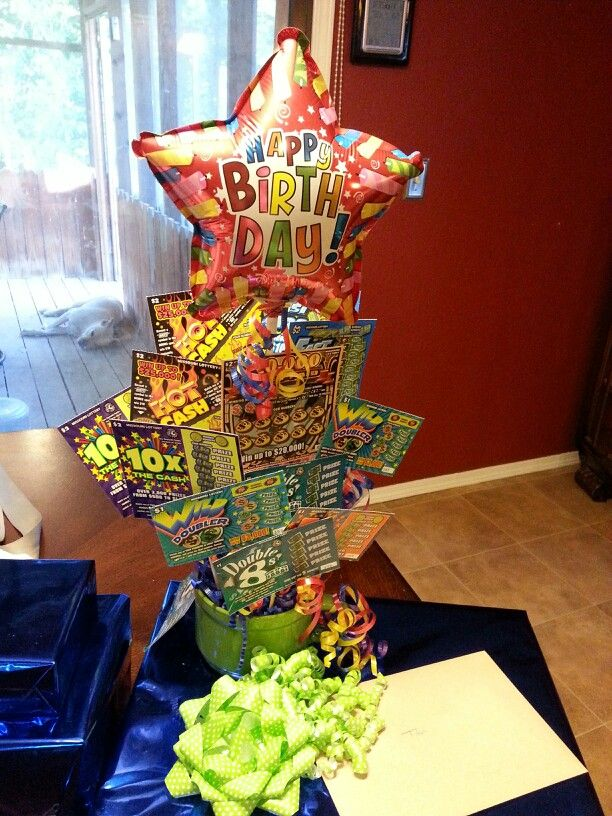 Lottery ticket bouquet for my boyfriend's birthday.