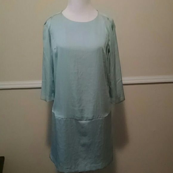 "NWT.  Mint colored dress Long sleeved.  100% polyester and feels like silk.  Drop waist.  Laying flat shoulder to hem is approx 33"".  From drop waist to hen is approx 11.5"". Forever 21 Dresses"