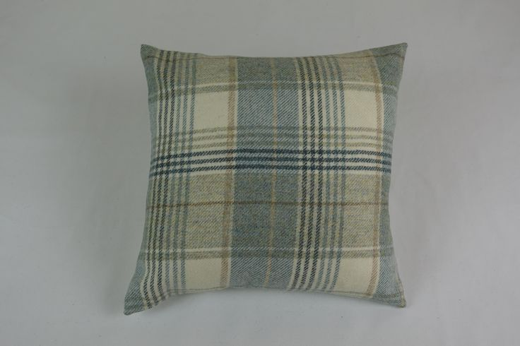 Green checked 100% wool cushion for sale by Keltic chairs on Etsy