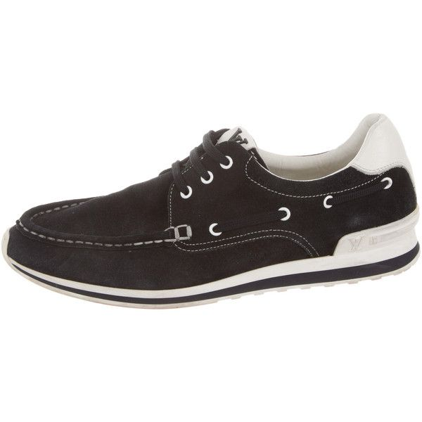Pre-owned Louis Vuitton Suede Leather-Trimmed Boat Shoes ($295) ❤ liked on Polyvore featuring men's fashion, men's shoes, men's loafers, blue, mens lace up shoes, mens topsiders, mens deck shoes, mens boat shoes and sperry top sider mens shoes