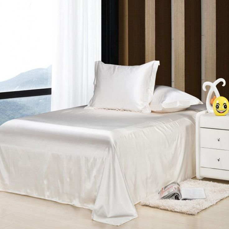 100% satin silk bedding set 3Pcs Bed sheet set sabanas de seda silk ropa de cama,bedclothes home textile,Bed Linens flat sheets #Affiliate