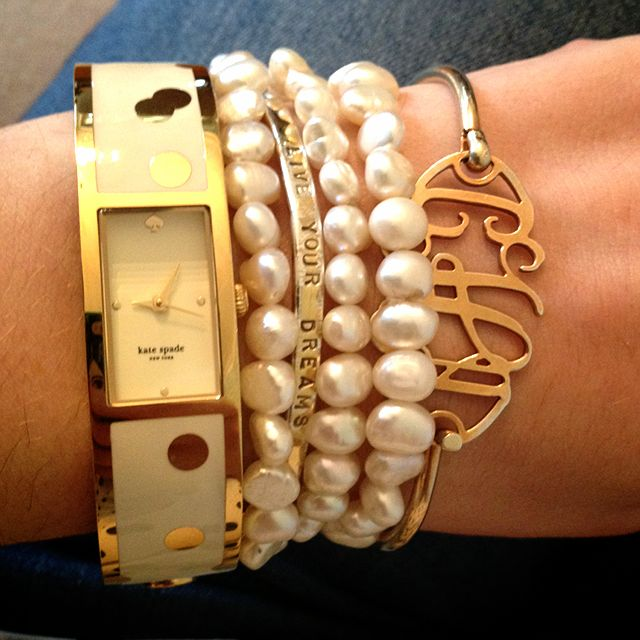 How to stack your bracelets tastefully!: Arm Candy, Bracelets Stacking, Monograms Jewelry, Stacking Bracelets, Wrist Candy, Kate Spade, Arm Parties, Pearls Bracelets, Colleges Prep
