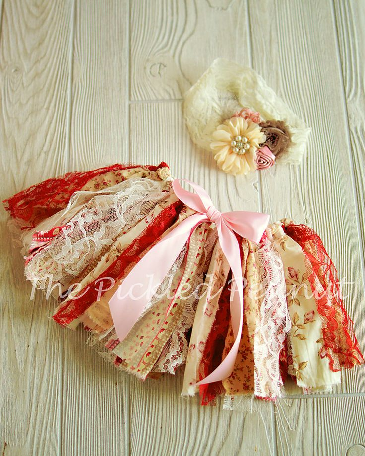 Pink Red Ivory Vintage Shabby Chic Floral Valentines Day Fabric Rag Tie Baby…