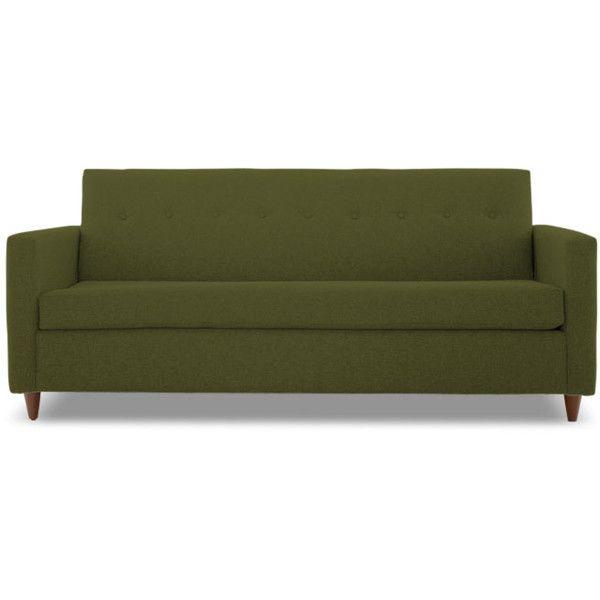 Joybird Korver Mid Century Modern Green Sleeper Sofa (2,355 CAD) ❤ liked on Polyvore featuring home, furniture, sofas, green, mid century sleeper sofa, mid century modern couch, green sofa bed, green couch and midcentury modern couch