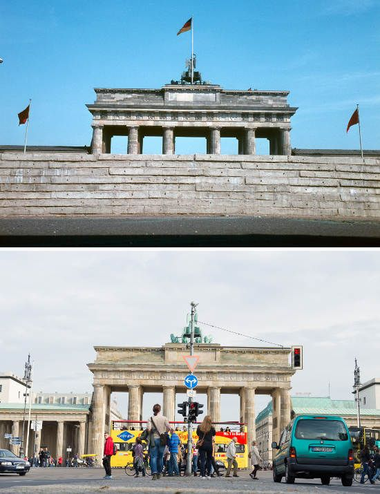 the brandenburg gate in 1962 behind concrete blocks the berlin wall photos of then and now the. Black Bedroom Furniture Sets. Home Design Ideas