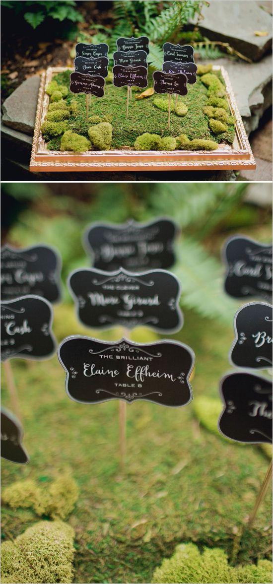 mossy escort cards | wedding DIY | garden wedding ideas | escort card #weddingchicks