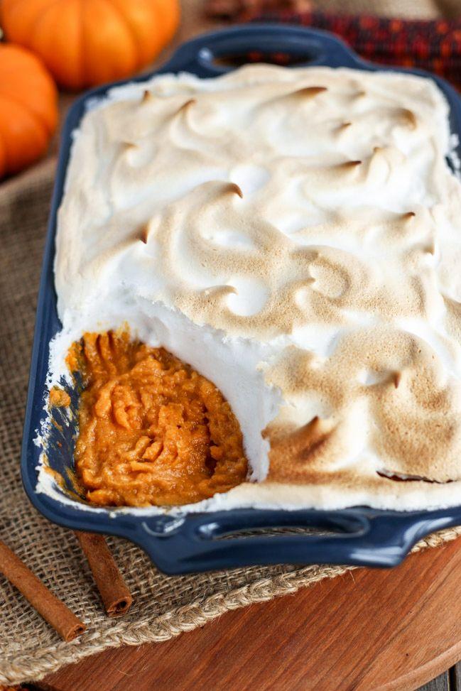 "Vegan Sweet Potato Casserole with Aquafaba ""Marshmallow"" Topping - ilovevegan.com"