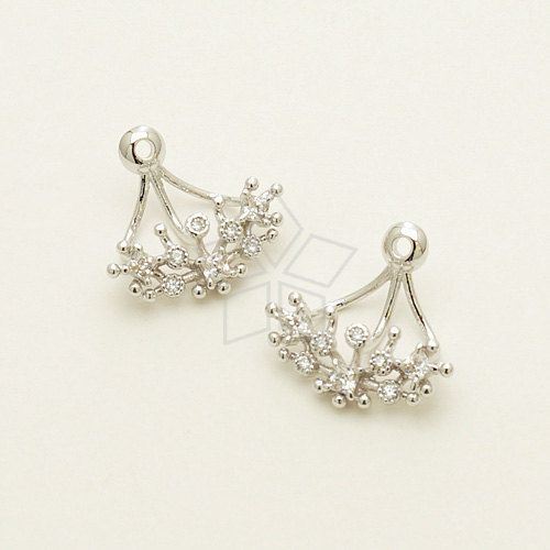 EA-144-OR / 2 Pcs  Ear Jackets Jewel CZ Stones for by beadsmaker