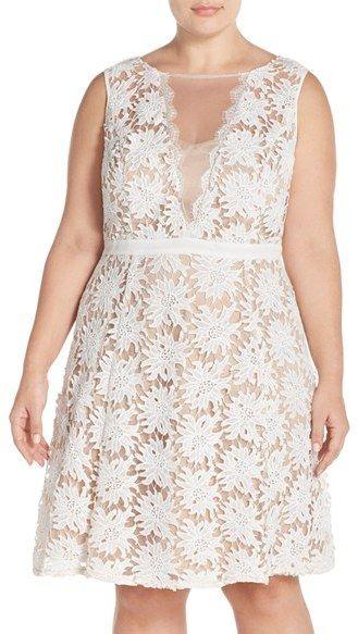 v neck lace dress plus size illusion