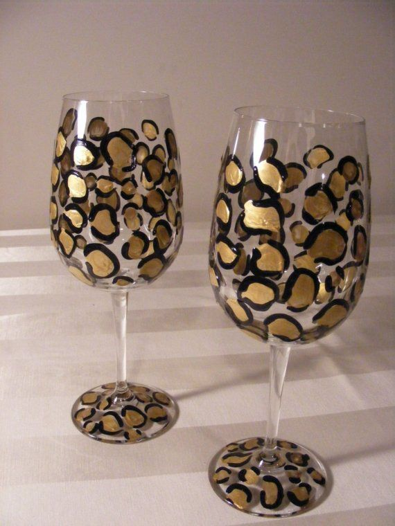 Leopard Glasses Etsy listing at http://www.etsy.com/listing/35153515/elegant-hand-painted-gold-leopard-print