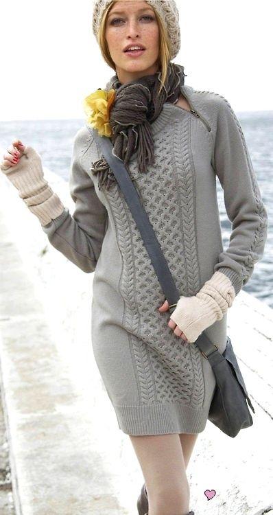 Gray Knit Dress