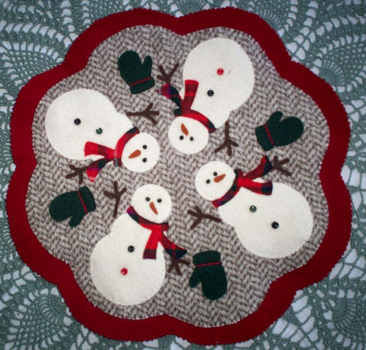 """Felted Wool 13"""" Sowman Penny Rug Candle Mat Table Topper. $50.00, via Etsy."""