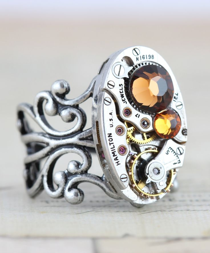 Steampunk Ring - Steam Punk Jewelry -  November Clockwork Couture Industrial Retro Jewelry Topaz -  Handmade by Inspired by Elizabeth. $42.00, via Etsy.