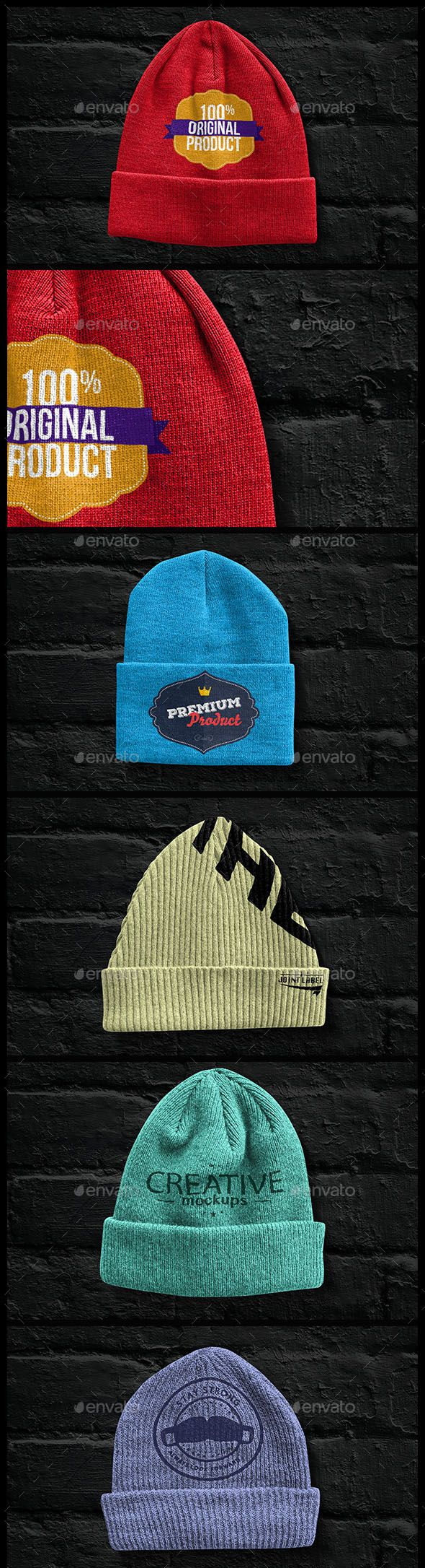 beanies-pack-mock-up High quality detailed Beanies Pack Mockup. FEATURES Includes 11 Beanie types Easy customization using Smart Objects Photo-Realistic look Unlimited colors Fully Layered PSD files Size: 2100×1400 pixels Resolution: 72 dpi WHAT'S INCLUDED: 11 PSD Files 5 displace maps 1 help file