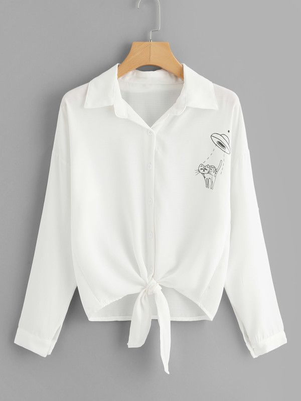 eec03ba150c99 Preppy Desenho Animado Botão Branco Blusas
