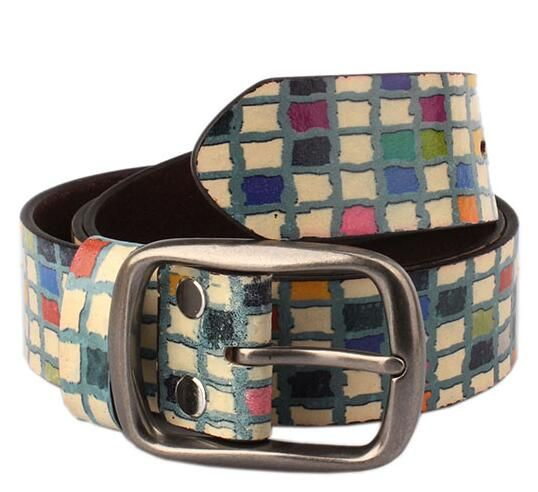 2016 new Leather fancy belt multicolour print casual colored checker beltl Abstract Design Printed Real Leather Belt 3.7cm wide