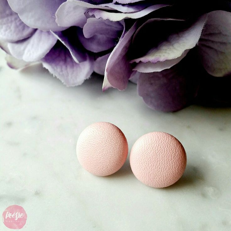BLUSH FAUX LEATHER EARRINGS • Handmade Original Design Fabric Button Jewellery • Available from www.poesiehandmade.com