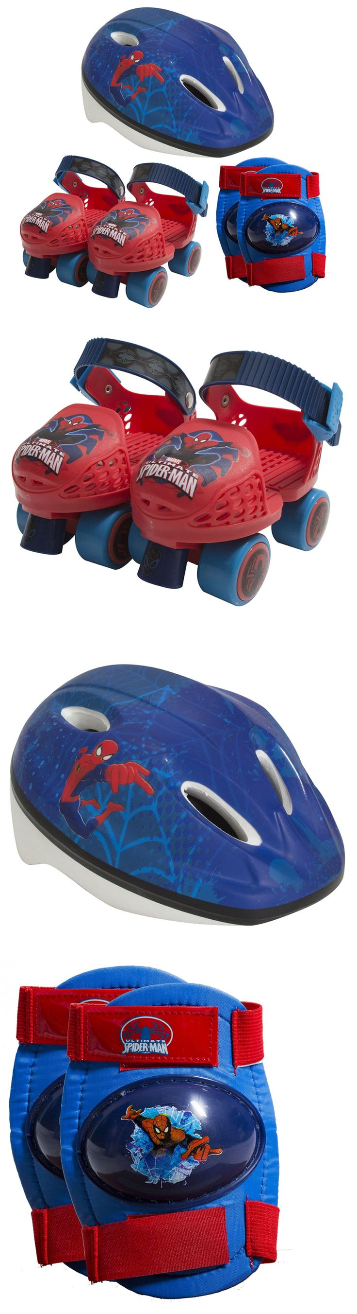 Youth 71156: Playwheels Spider-Man Kids Roller Skates With Knee Pads And Helmet - Junior Size -> BUY IT NOW ONLY: $37.52 on eBay!