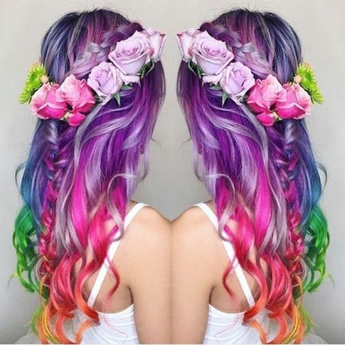 Curly long hairstyle with flower crown by Guy Tang - Unicorn Hair