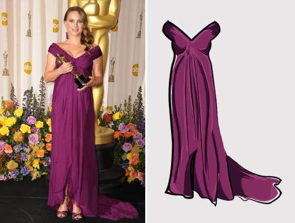 2011 Actriz: Natalie Portman  Ganó por: Cisne negro (2010)  Vestido diseñado por: Rodarte