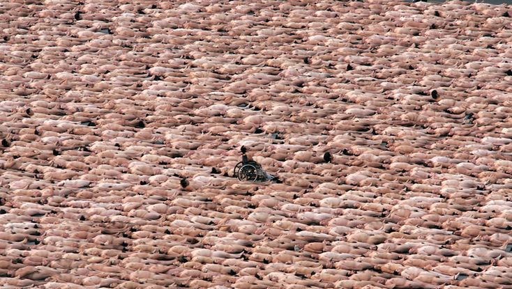Love the guy in the wheelchair (from a Spencer Tunick photo shoot)