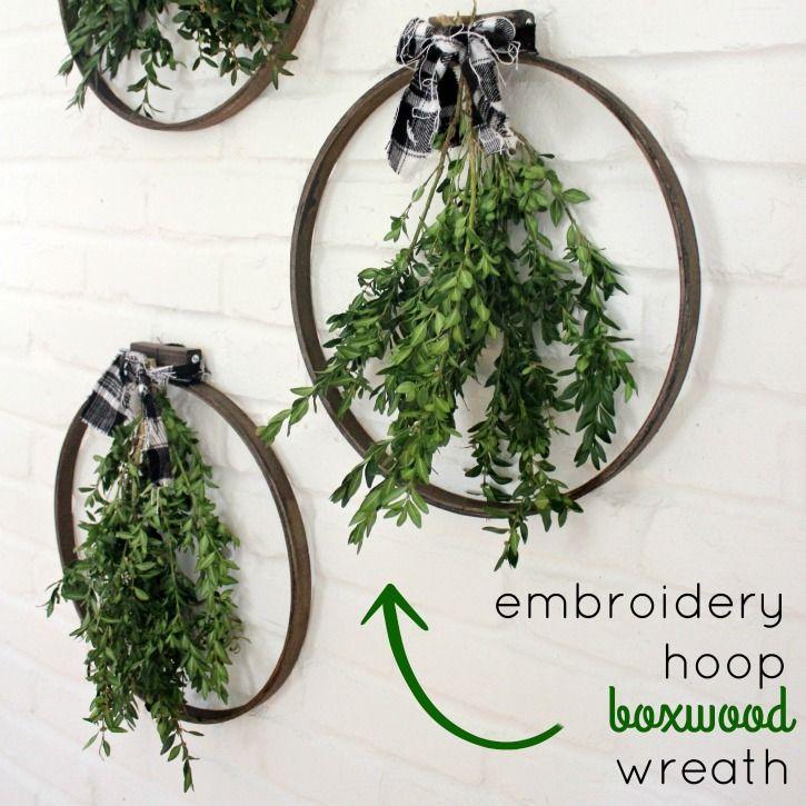 Embroidery Hoop Boxwood Wreaths Diy Embroidery Wreaths