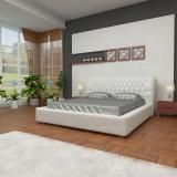 Luxo Bedroom Furniture - Modern Orion King Size Upholstered Leather Bed Frame with Genuine Cowhide Cow Hide Leather Headboard - White