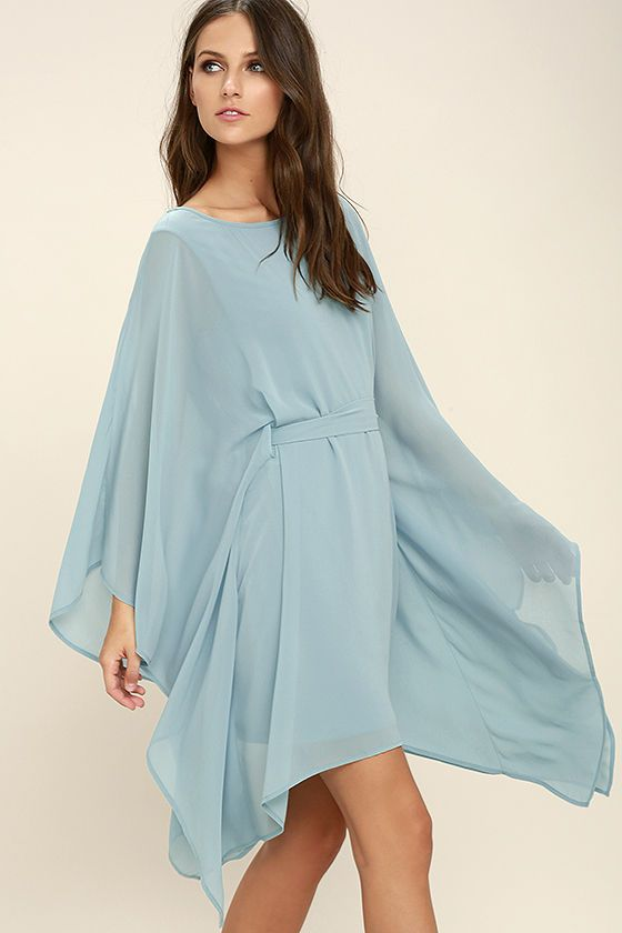 Lulus Exclusive! Float into the room in the Heavenly Being Light Blue Kaftan Dress! Lightweight Georgette shapes a bateau neckline and kaftan bodice with wide-cut sleeves, and tying sash at the waist.