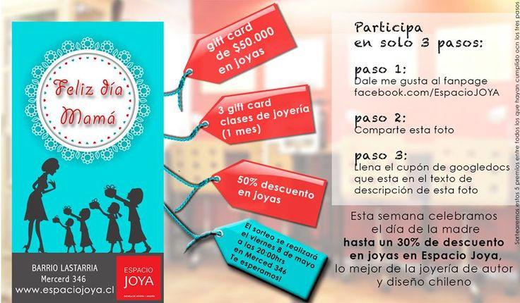Hazte fan de Espacio Joya en Facebook, comparte la foto y llena el cupón para participar por alguno de los premios!!