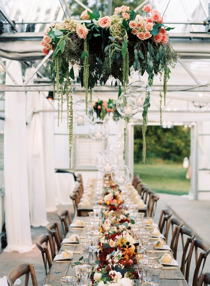 Image result for floral displays above tables