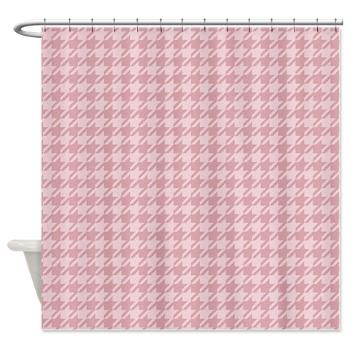 Pink Houndstooth Shower Curtain