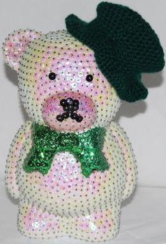 123KrimsKramsKreativ - Weißer Bär mit grüner Schleife