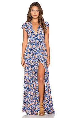Sid Wrap Dress in Navy & Peach Floral