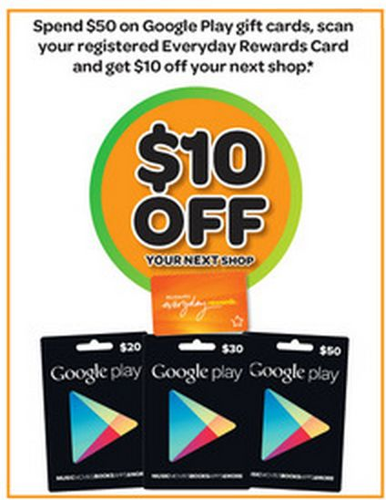 Since Google released Gift Cards in Australia, we've seen them slowly expand availablity to more stores, and we've seen some deals starting to show up. This week Woolworths is running a deal if you want to purchase some Google Play Gift Cards. In this weeks Woolworths catalogue, you'll find an offer for $10 off your shopping when you purchase $50 worth of Google Play Gift Cards. The offer runs from the 8th of October till the 14th of October and you'll need to scan your Everyday Rewards card…