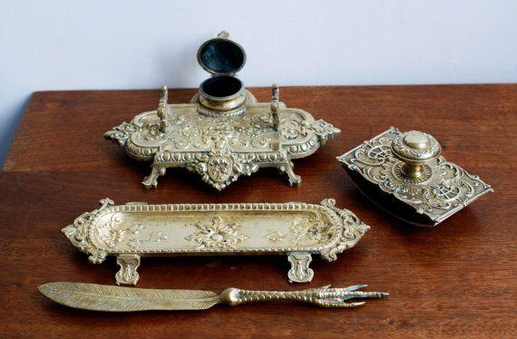1800s ornate bronze desk set, inkwell, pen tray, letter opener, ink blotter…