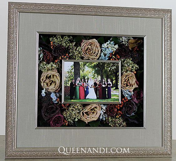 Transform your wedding flowers into a lasting work of art! The Kellogg Wedding shadowbox showcases @larsonjuhl frame - Imperial Silver, @nbframing mat - Mink Raw Silk (Foreground and Backbround). #queenandi #floralpreservation #weddingflowers