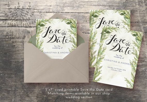 Save The Date Card Green rustic Save the date by StudioInBudapest