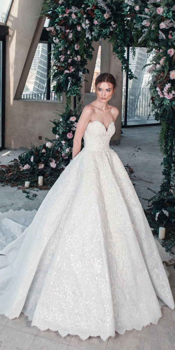 424a925078 tony ward wedding dresses 2019 princess sweetheart strapless lace sequins  with train