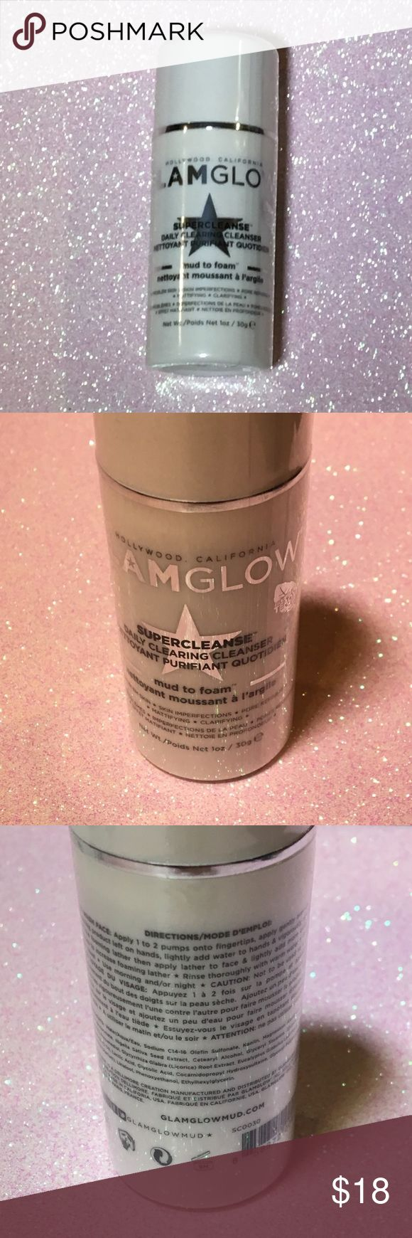 Glam Glow Super Cleanse Facial Cleanser A 1oz size of GlamGlow's amazing Facial Cleanser! New,unopened and 100% authentic. GLAMGLOW Makeup