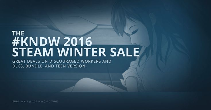 The #KNDW 2016 Steam Winter Sale is ongoing! Great deals on Discouraged Workers and DLCs, Bundle, and TEEN version!  #gamedeal #indiegames #anime #visualnovel #psychological #dystopian